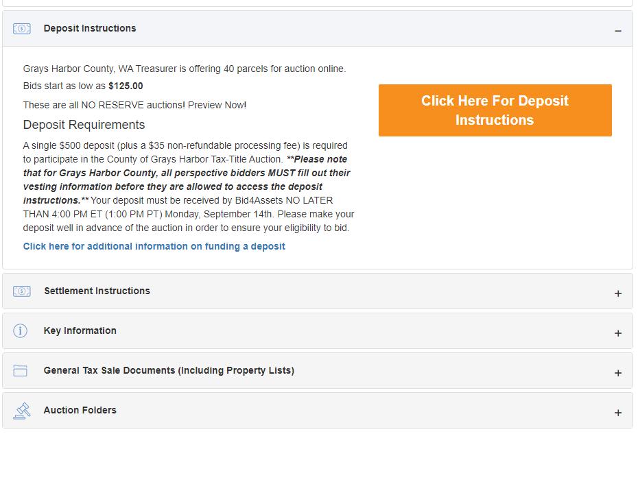Bid Deposit Instructions - Sample Screenshot